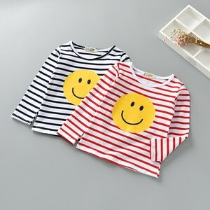 2019 Smile Striped T Shirts for Girl Cotton Long Sleeve T Shirts Girls Striped T-shirts Child Kids Soft Spring Boys Tees