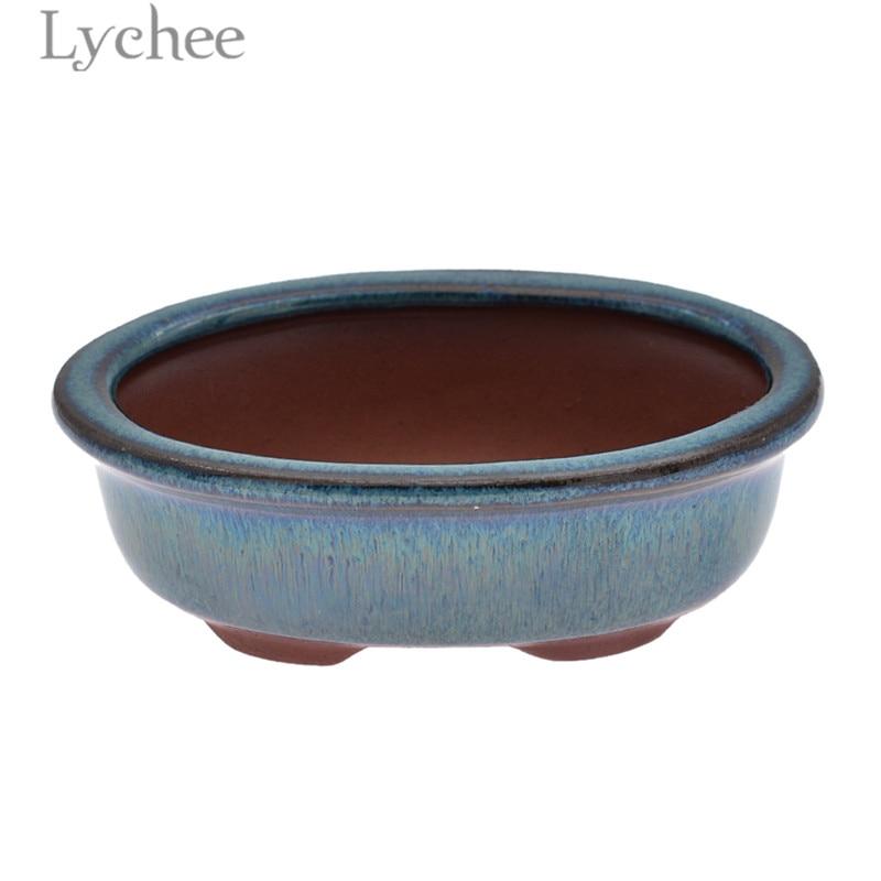 Lychee Leben Oval Bonsai Topf Glasierte Lila Ton Blume Topf Lagerung Pflanzer Home Garten Dekoration Liefert