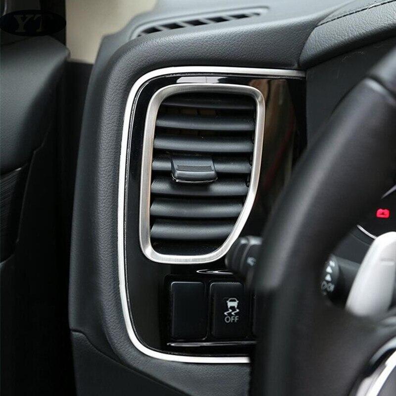 Auto AIRE ACONDICIONADO interior ventilación adornos para Mitsubishi Outlander 2013 de acero inoxidable accesorios de auto 2 uds
