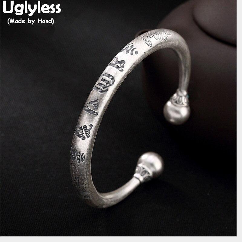 Uglyless, 100%, brazaletes con esfera de plata pura 999 de macizo auténtico para mujeres, brazalete abierto religioso de seis palabras, joyería fina de plata Budista tailandesa