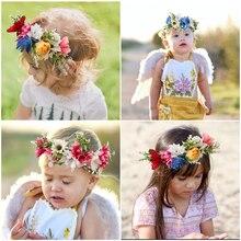 Corona de flores para mujer de novia, diadema Floral para boda, cinta de guirnalda, lazo, corona de flores para niña, accesorios para el cabello elásticos