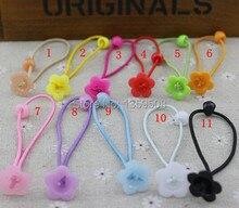 Free shipping!100pcs Children Flower Headband Kid's Elastic Hair Bands Diy Findings 11 Colors
