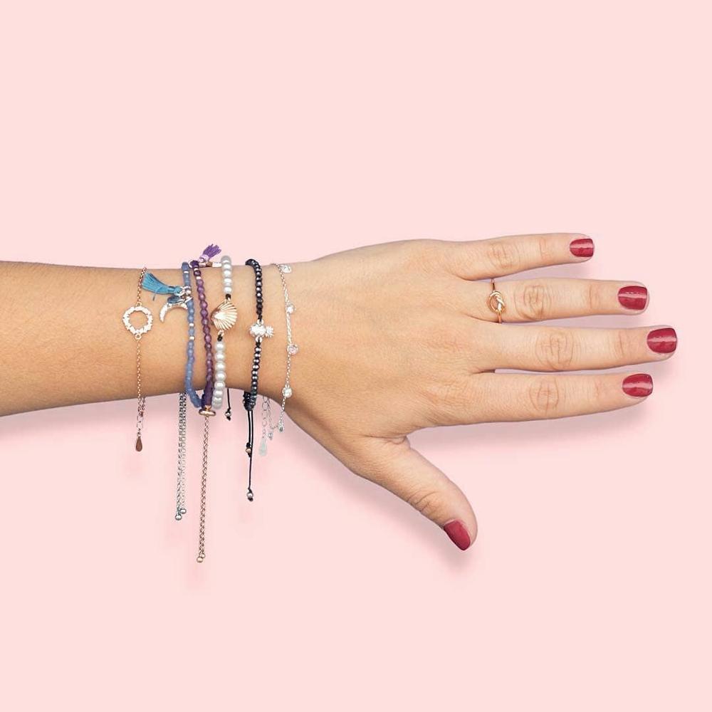 ELESHE 100%  925 Sterling Silver Zircon Round Charm Bracelet For Women Link Chain Bracelet Fine Silver Jewelry Party Gift