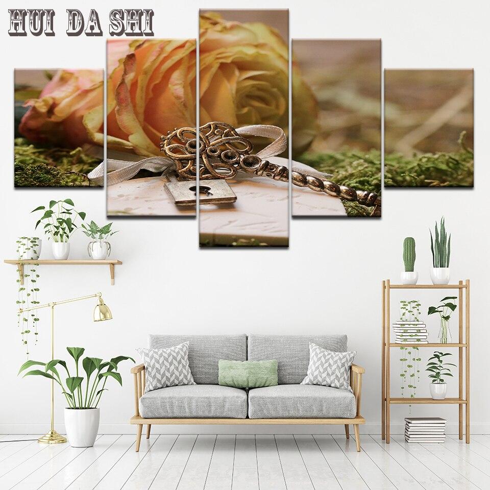 Pintura modular Marco de arte de pared 5 Panel amarillo Rosa Poster obra de arte lienzo impresión para sala de estar decoración moderna del hogar obra de arte