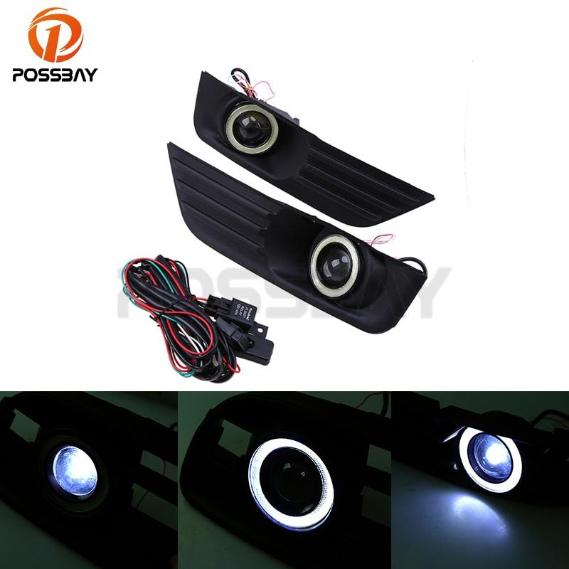 POSSBAY Front Fog Lights Racing Grills Fit for Ford Focus MK2(DA3) Sedan 2004-2006 Switch +Wiring Harness Car Angel Eye Foglamp