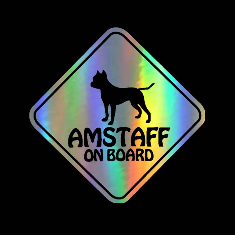 15CM * 15CM pegatina de coche 3D AMSTAFF a bordo mascota perro coche etiqueta de la motocicleta reflectante vinilo Car Styling Sticker negro/plata/láser