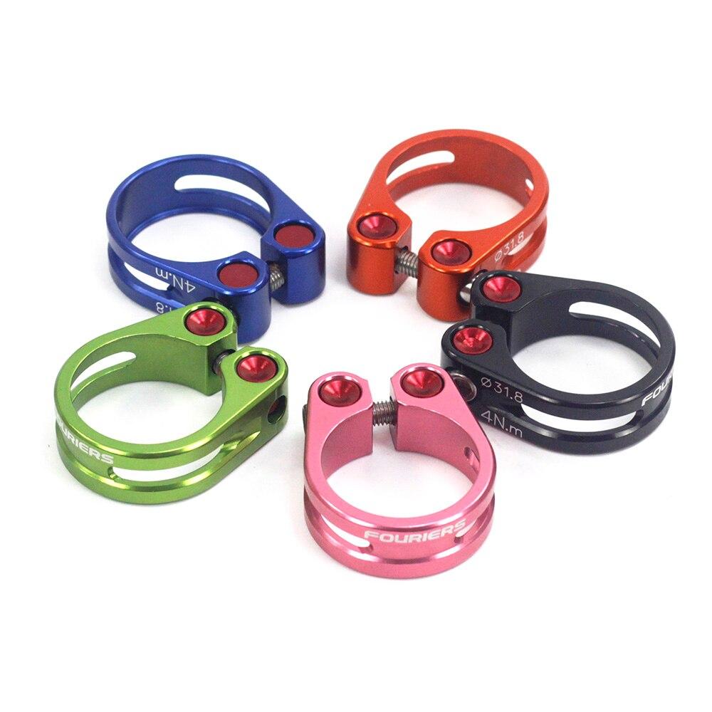 Abrazadera de aluminio Fouriers para tija de sillín 31,8mm 34,9mm MTB, tornillos fijos para Collar de bicicleta de carretera, piezas de tornillo para bicicleta