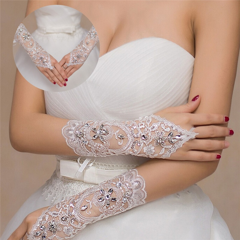 1 pasang 2 gaya sarung tangan pengantin putih / merah / kuning air elegan berlian imitasi ayat pendek sarung tangan renda putih aksesori perkahwinan yang indah