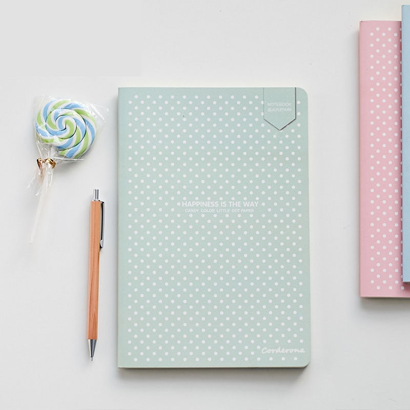 A5 Candy Color Dotted Journal Simple Small Dot Grid Bullet Notebook Diary Soft Cover Travel Planner cute candy a5 dotted notebook