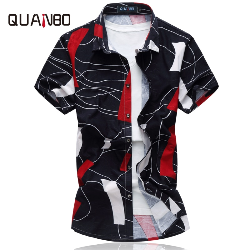 QUNABO Men's Shirts Plus szie 6XL 2018 Summer New Arrival Stretch Printing Men Fancy Shirts  Short sleeve shirt camisa masculina