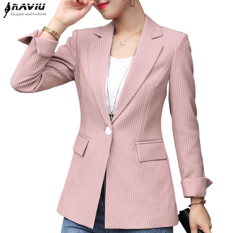 Moda feminina listras blazer 2018 primavera outono novas senhoras temperamento fino casual manga longa jaqueta plus size casaco topos