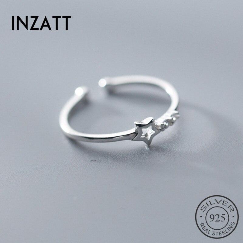 Inzatt genuíno 100% 925 prata esterlina oco estrela zircão anel ajustável para as mulheres bonito aniversário moda jóias presente