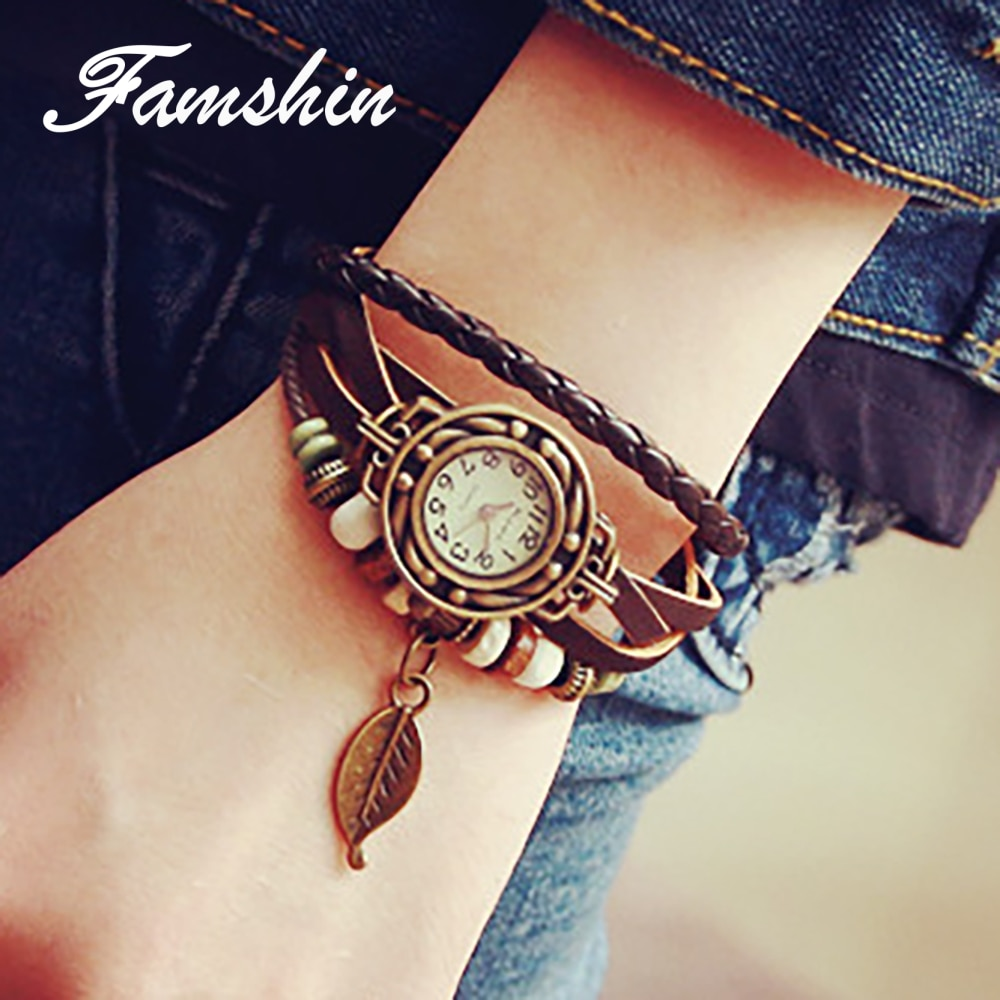 FAMSHIN Women Watches Fashion Leather Vintage Weave Wrap Quartz Wrist Watch Bracelet Watch PU Leathe