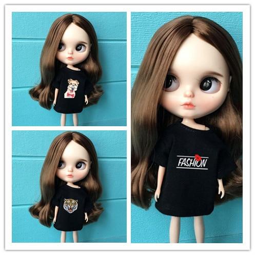 Ropa de muñeca Blyth de 30cm, camiseta negra, ropa larga para muñeca blyth pullip barbi azone kurhn 1/6, vestido de moda para barbie