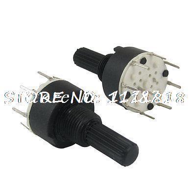 2 piezas de 6mm de diámetro eje anudado 2 polos 3 posiciones interruptor giratorio DC 60 V 0.3A