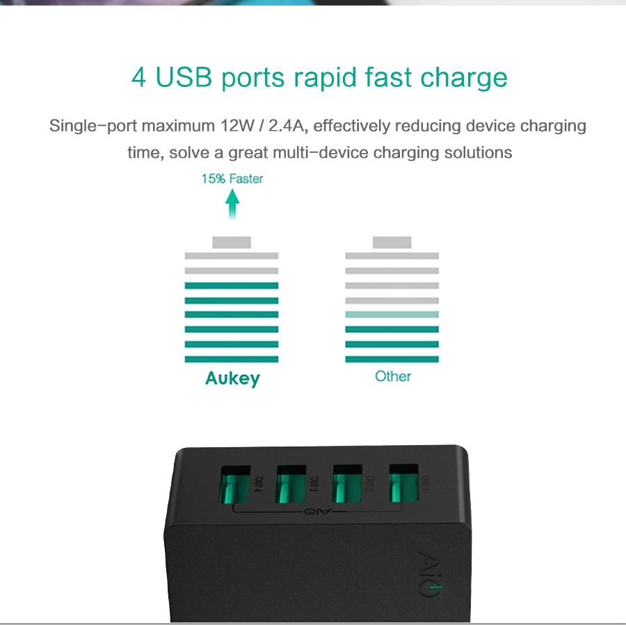 Aukey uniwersalny 4 porty usb ładowarka podróżna ładowarka ścienna adapter do iphone7 samsung s6 smart phones/pc/mp3 i usb urządzeń mobilnych 6