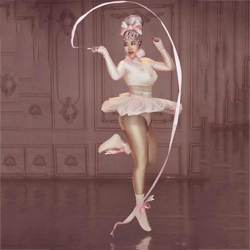 فستان وردي لطيف ملابس للرقص للمسرح قابلة للتمدد ملابس نسائية راقصة للمغني ازياء ملهى ليلي للحفلات عرض بذلة للسيدات ملابس DT535