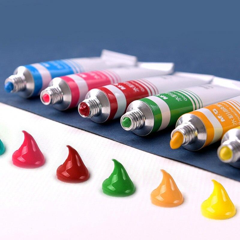 Pigmento de goulache 12/18/24 colores pigmento de goulache 5ml 12ml niños Kawaii juego de pintura de goulache brillante suministros de pintura no tóxica de colores