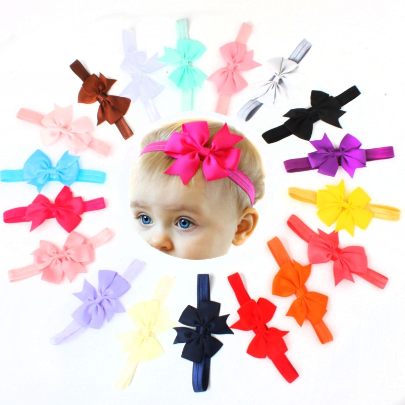10pcs/lot New Design kids Ribbon Bow Tie Headband DIY Grosgrain Ribbon Bow Elastic Hair Bands Hair A