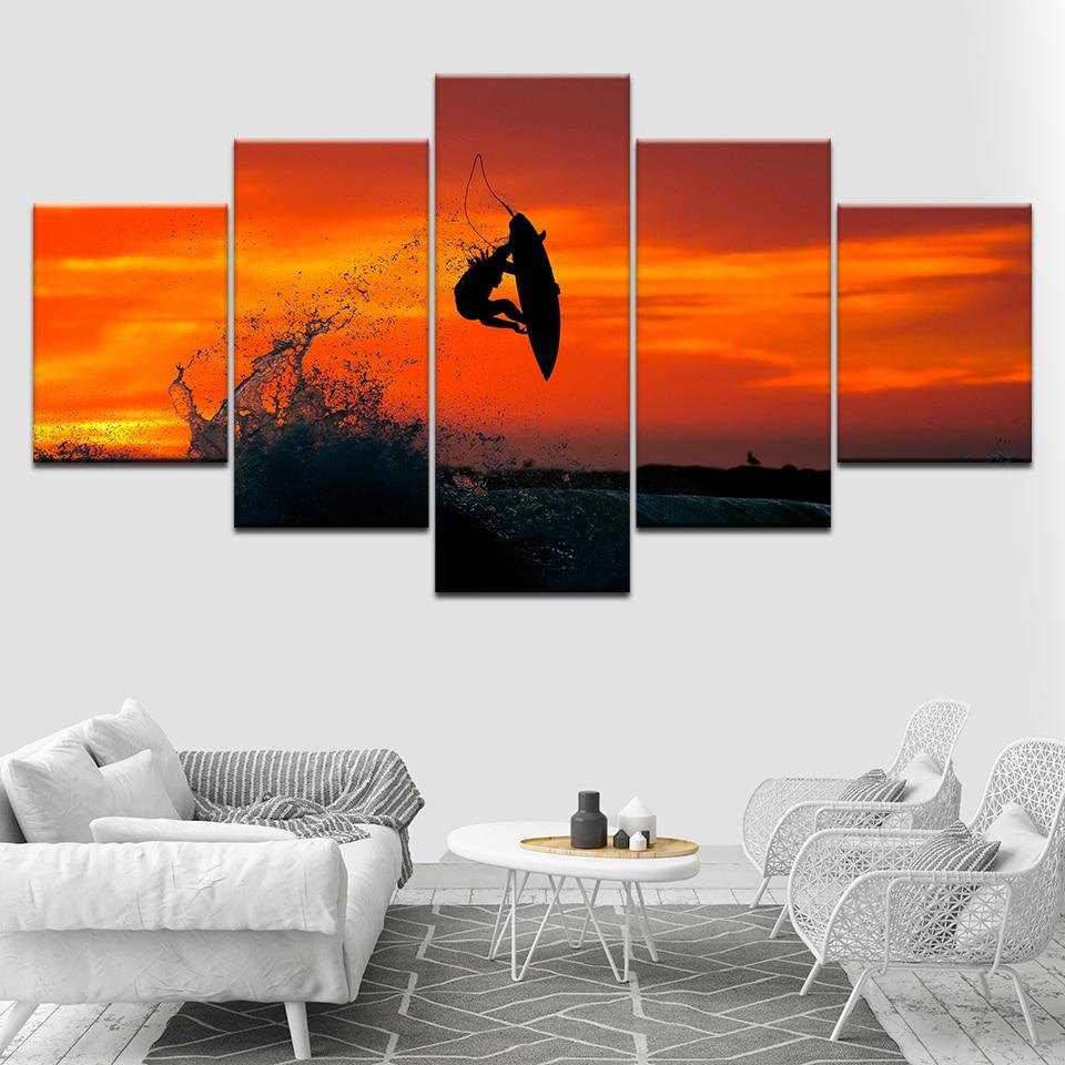 5 piezas de papel tapiz de mar surfeado con cielo al atardecer, lienzo de arte impreso, póster moderno, pintura de arte Modular para sala de estar, decoración del hogar