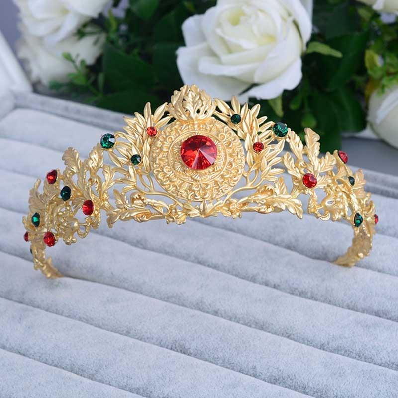 Tiaras de novia de cristal rojo dorado Vintage, accesorios para el cabello, corona de boda, accesorios para el cabello, desfile de diamantes de imitación, diadema, joyería para novia SL