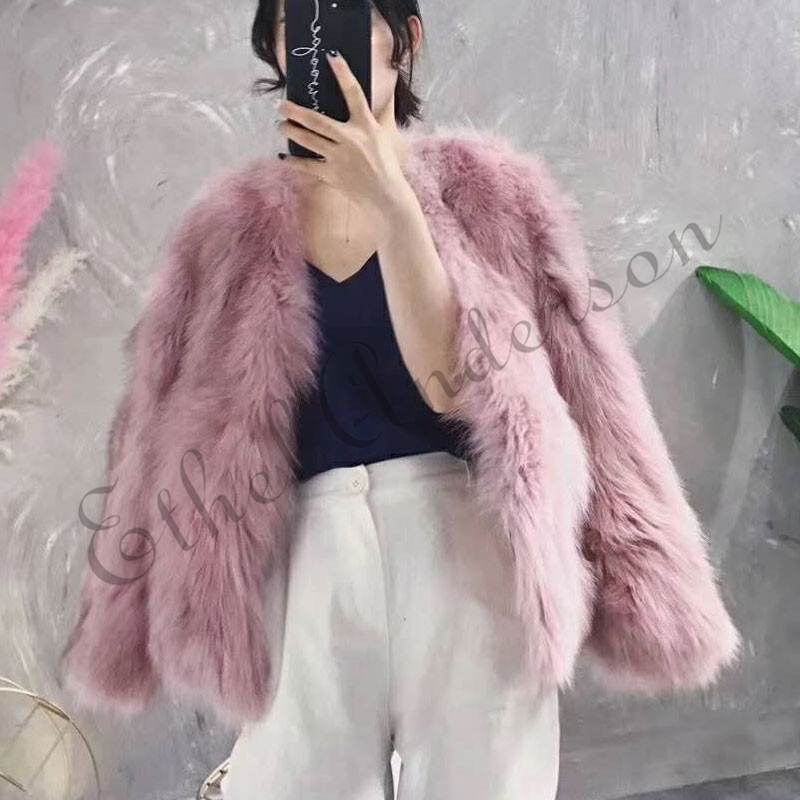 ETHEL ANDERSON 100% las mujeres abrigo de piel auténtica de zorro caliente chaqueta de piel de estilo Simple Color rosa manga corta prendas de vestir