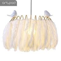 Artpad Nordic Princess White Feather Pendant Lights Living Room Restaurant Shop Store Living Room Bedroom Hanging Lights Fixture