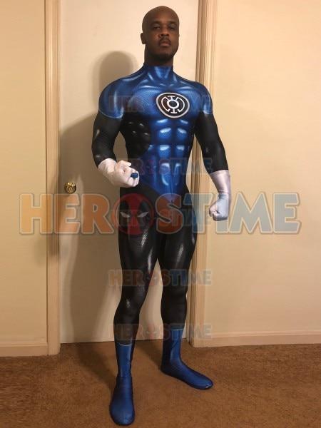 Blue Lantern Costume 3D Printed Blue Lantern Superhero Cosplay Costume Halloween Party Cosplay Bodysuit No Eyemask