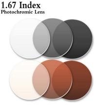 1,67 Index Ultra Dünne Asphärische Photochrome Linse CR-39 Rezept Myopie Presbyopie Brillen Linse Anti-Radiation RS143