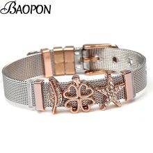 BAOPON, pulseras de malla de dos tonos DIY de acero inoxidable, brazaletes de mujer con dije de estrella de mar, pulsera fina para mujer, regalo de joyería
