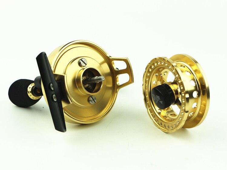 Yumoshi Fishing reel All metal Golden color Raft wheel  FIsh line  Micro lead s Left hand Right   gear enlarge