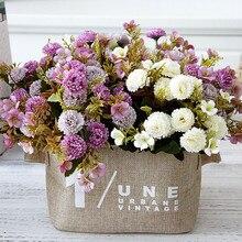 Маленькие искусственные гвоздики сиреневые цветы Шелковые Флорес для домашнего стола Свадебные Декоративные искусственные цветы fleur ...