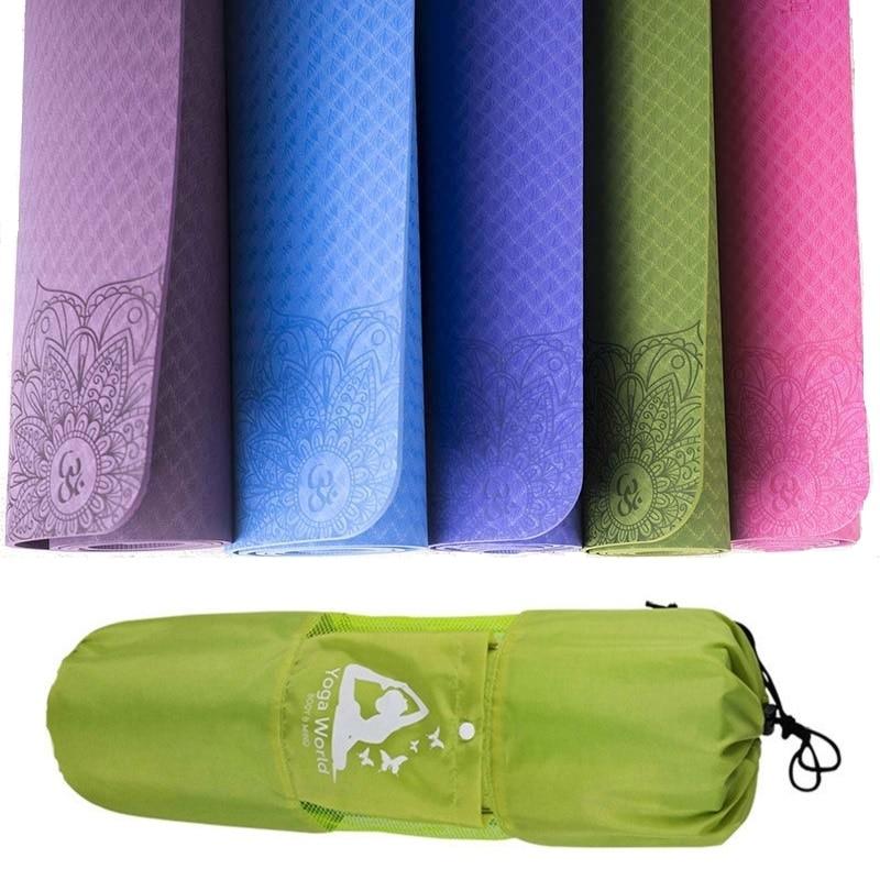 Dature TPE Yoga Mat 6mm Fitness Mat For Fitness Yoga Carpet Gym Mat With Yoga Bag gymnastics mats Balance Pad 183*61cm*6mm