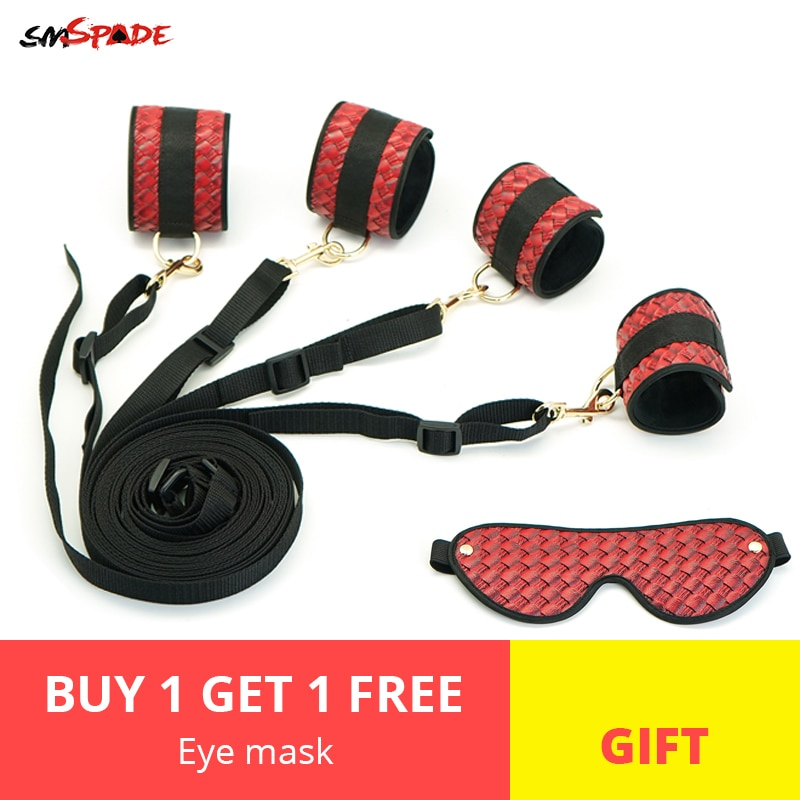 Smspade bdsm Bondage Sex Toys for Couples Slave Restraint Kit Handcuffs/Ankle Cuffs Adult Games Sexy Shop Send Blindfold as Gift