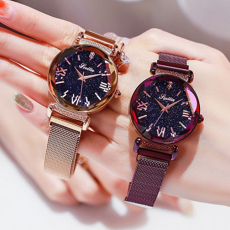 Top Luxury lady Watch Women Dress Crystal Watches Fashion Blue Rose Gold Quartz Watches Female Simple Magnet Buckle Wristwatches enlarge