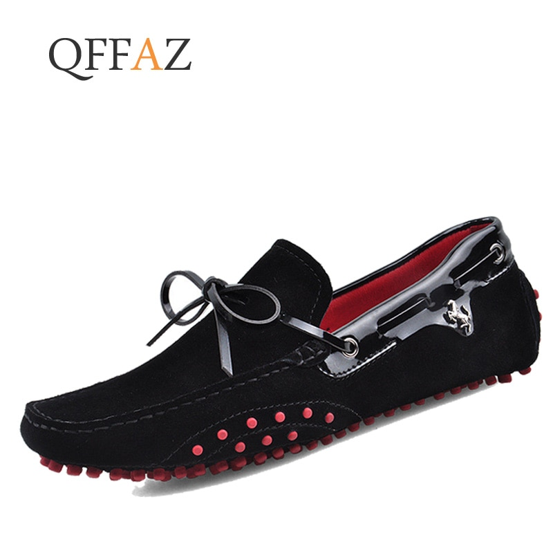 QFFAZ Men Casual Shoes Genuine Leather Moccasin Loafers Masculino Handmade Slip On Flat Boat Shoes Male Footwear pointed metal toe low top hommes chaussures leather slip on loafers heel masculino gold metal decor men shoes leisure male shoes