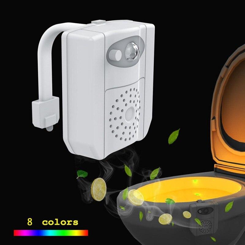 8 cores Lâmpada Banheiro Banheiro Banheiro Inteligente Noturna Aromaterapia Sensor de Indução Do Corpo Humano LEVOU Higiênico Pendurado