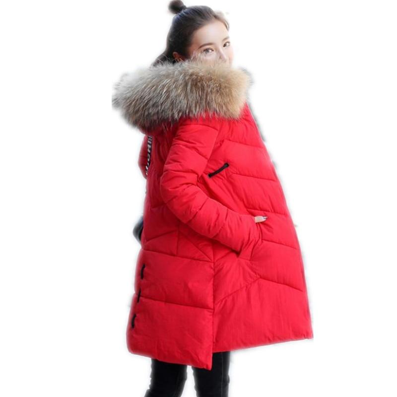 Fashion OL Winter Women Parkas 2018 New Women Medium-Long Down Cotton Jacket Hooded Fur Collar Winter Jackets Loose Parkas Q873
