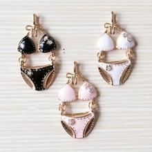 Negro blanco rosa Bikini Metal encantos esmaltado colgantes para la fabricación de joyería suministros Diy accesorios hechos a mano