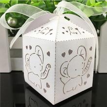 Boîte cadeaux en forme déléphant 10 pièces   Boîtes à bonbons ajourées et découpées au Laser avec ruban, fournitures de fête prénatale mariage
