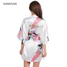 VLENATLNO, bata Floral para novia o dama de honor para boda, bata de rayón satinada, camisón para mujer, Kimono, ropa de dormir con flores de talla grande