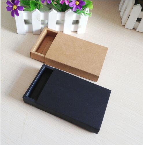 24 unids/lote de cajas de cajones artesanales negras y Kraft para cajas pequeñas de regalo y galletas, cajas de embalaje de dulces de fiesta de boda de jabón hechas a mano