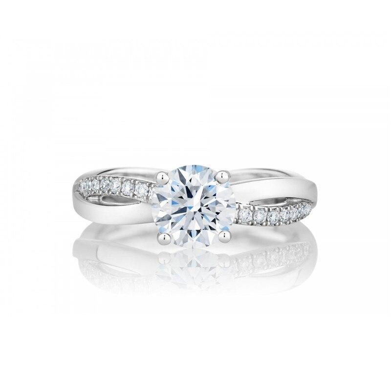 PT950 فريد نمط خاتم الخطوبة للنساء 1CT قطع مستديرة فاخرة خاتم الماس شوكات إعداد البلاتين 950