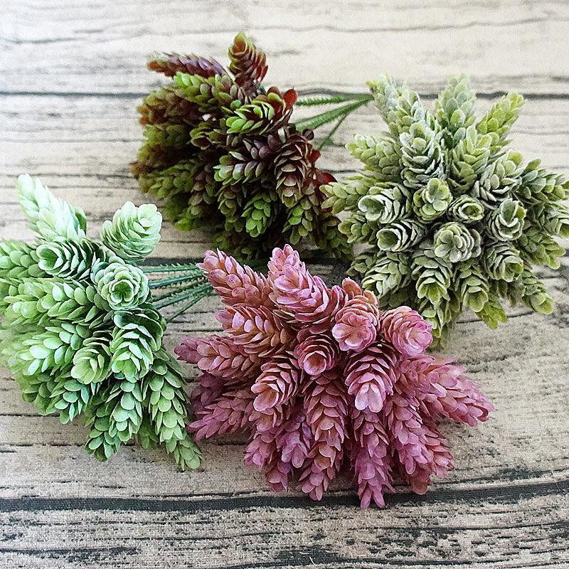 30 cabezas artificiales piña pequeña de plástico árbol hojas flores falsas DIY boda planta para decoración del hogar hoja verde