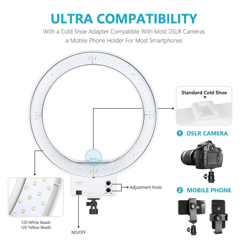Neewer 18-inch White LED Ring Light with Light Stand Lighting Kit Dimmable 50W 3200K-5600K with Hot Shoe Adapter enlarge