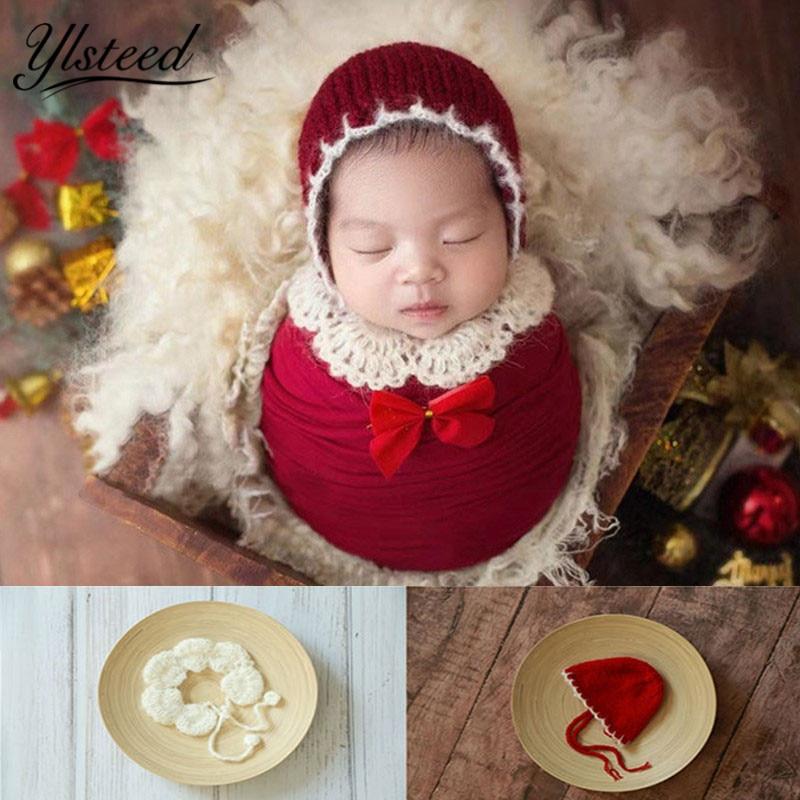 Ylsteed реквизит для фотосессии новорожденных детей Рождество шляпа шаль Набор крючком новорожденных наряды детские реквизиты для фотосессии младенцев Pic Home