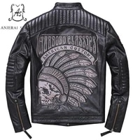 plus size genuine retro made real cow leather jacket men black brown punk label embroidered skulls motorcycle bomber jacket coat