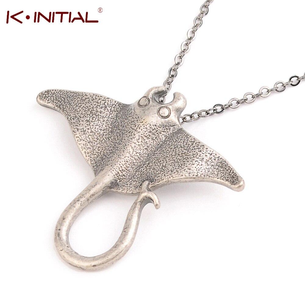 Kinitial Creature Animal Dog Frog Necklace Unique Ocean Stingray Manta Ray Sea Creature Pendant Women Charm Necklace Bijoux