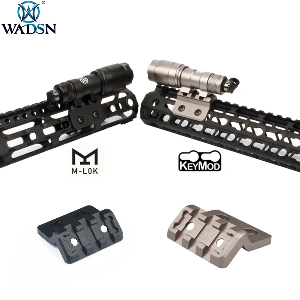 WADSN Airsoft Surefir M300 M600 arma táctica linterna Riflescope Offset carril montaje adecuado M-LOK Keymod 20mm los rieles Picatinny