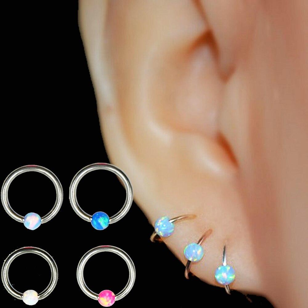Кольцо для ушной хрящ из хирургической стали с опаловым камнем, ушной хрящ, серьги для носа, кольцо для пирсинга, BOG-1PC 316l